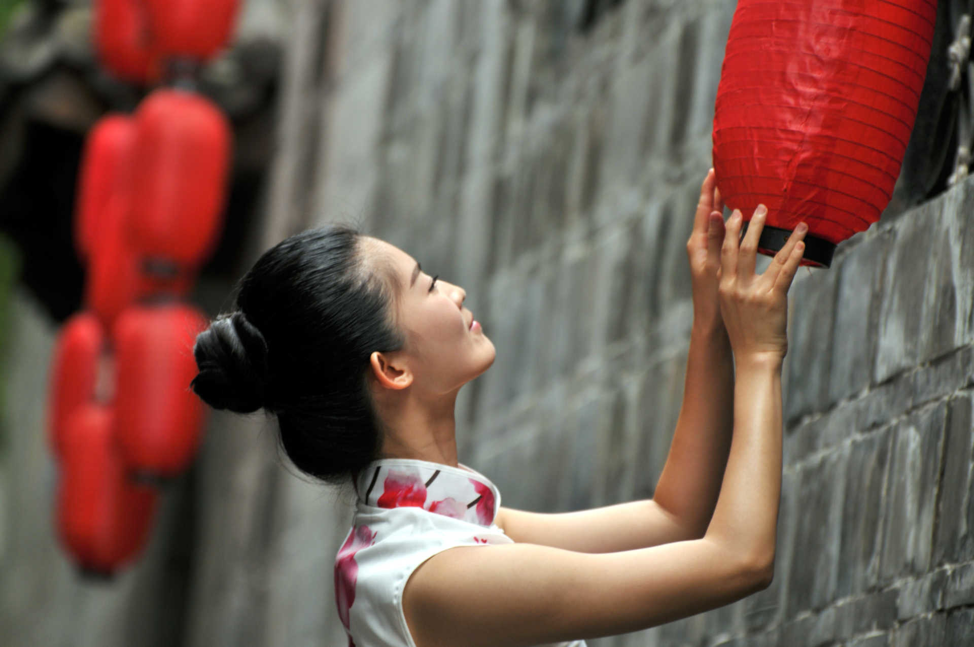 Woman celebrating Chinese New Year